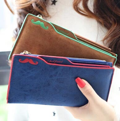Women Wallets 2015 new winter fashion trends hit the color super-soft brushed mustache lady long wallet lady purse card(China (Mainland))