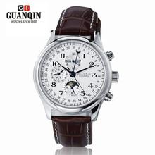 GUANQIN Men Sport Watches Original Brand Perpetual Calendar 4 hands Movement Auto Mechanical Waterproof Leather Wristwatch 0740