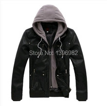 2015 Men jacket Slim Black Double Layer Double Zipper Hooded men Leather Jacket(China (Mainland))