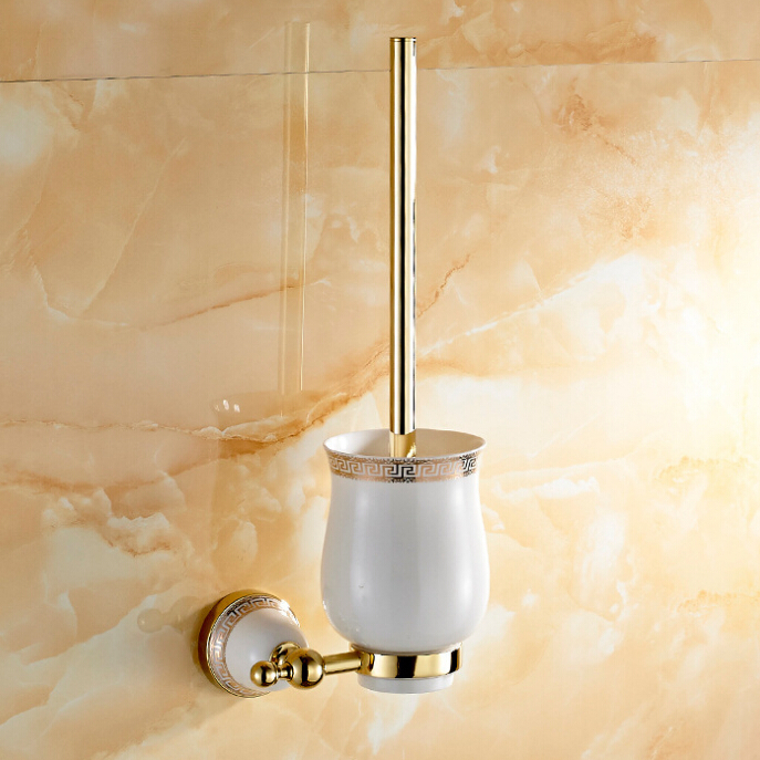 Golden Polished Porcelain Base Toilet Brush Holders Stainless Steel Wall Mounted Bathroom Accessories 11TBH - Home-Fancy Faucet store