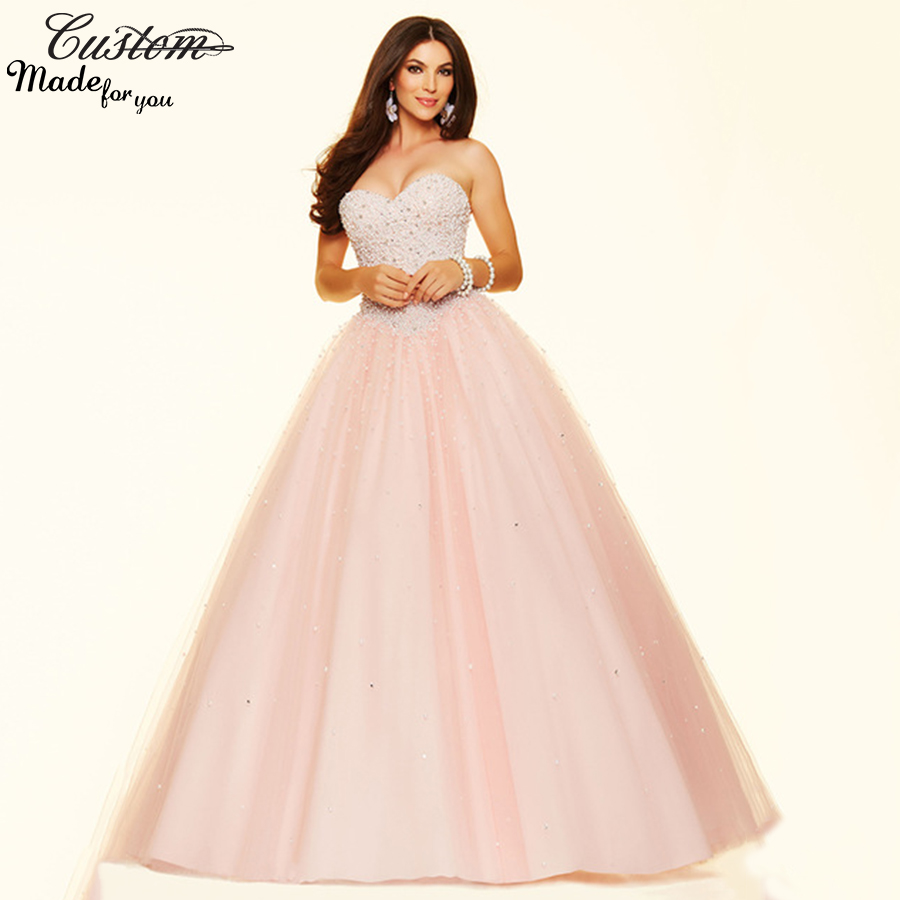 Quinceanera Dre... Light Pink And Gold Quinceanera Dresses
