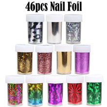 46Pcs/Lot 120cm*4cm Nail Art Transfer Foil Stickers DIY Foil Polish Nail Art Decals Nail Gel Material Wholesale Retail C97-C142