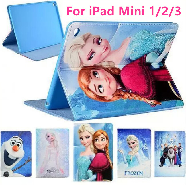 Leather Case Cover For Apple iPad mini 1/2/3 Case With Stand Lovely Cute Elsa Anna Tablet Case Leather Case for iPad mini1/2/3(China (Mainland))