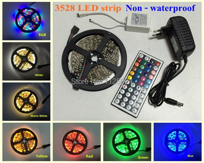 Гаджет  RGB LED Strip 5M 300Led 3528 SMD 24 Key IR Remote Controller 12V 2A Power Adapter Flexible Light Led Tape Home Decoration Lamps None Свет и освещение