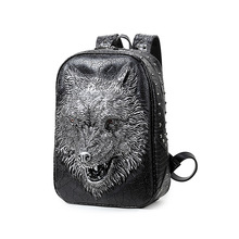 2016 Fashion Personality 3d Skull Wolf Leather Backpack Rivets Skull Backpack With Hood Cap Apparel Bag Rugzak Bags Hiphop Man(China (Mainland))
