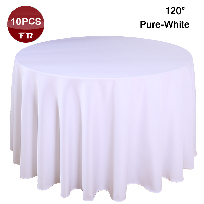"10PC/Lot Polyester Table Linen 120"" Table Cover Round Rustic Handmade Table Cloth of Wedding Decorative Home Party Hotel Linen(China (Mainland))"