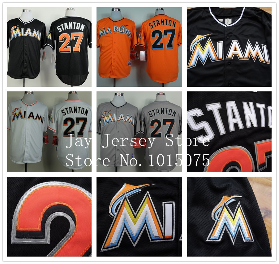 Miami Marlins Jerseys 2014 Blank, 27# Giancarlo Stanton Jersey White Black Grey Cool Base(China (Mainland))