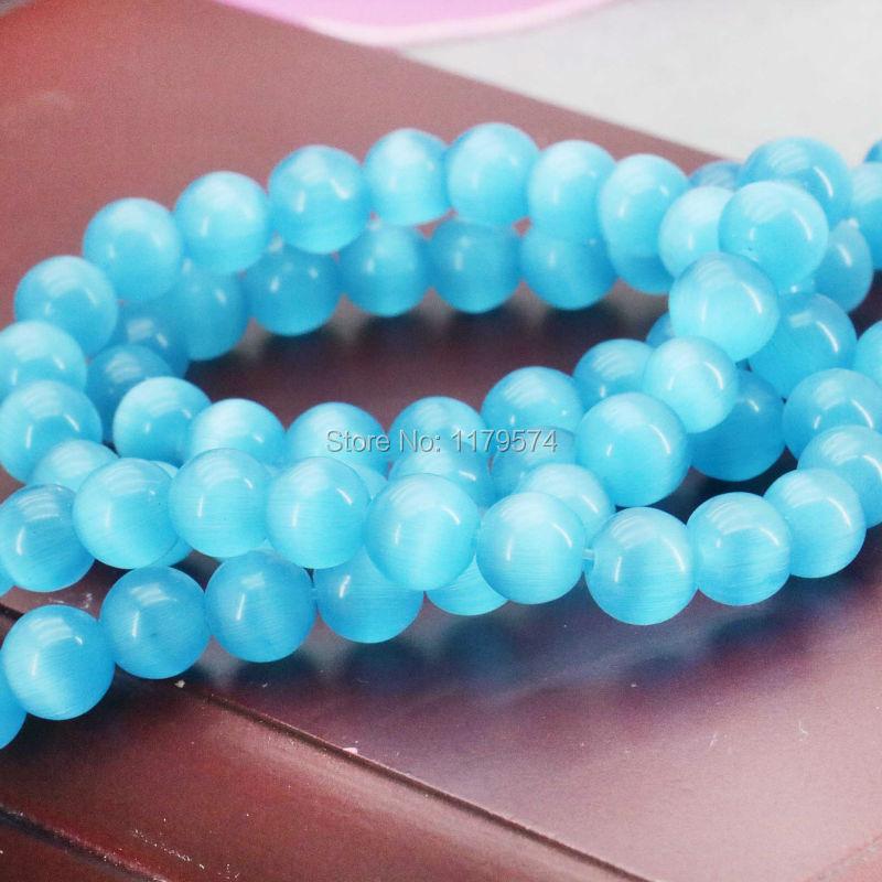 8mm Accessories Blue Glass beads Mexican cat eye Jasper granular loose Women girls gift 15inch Jewelry making design wholesale(China (Mainland))