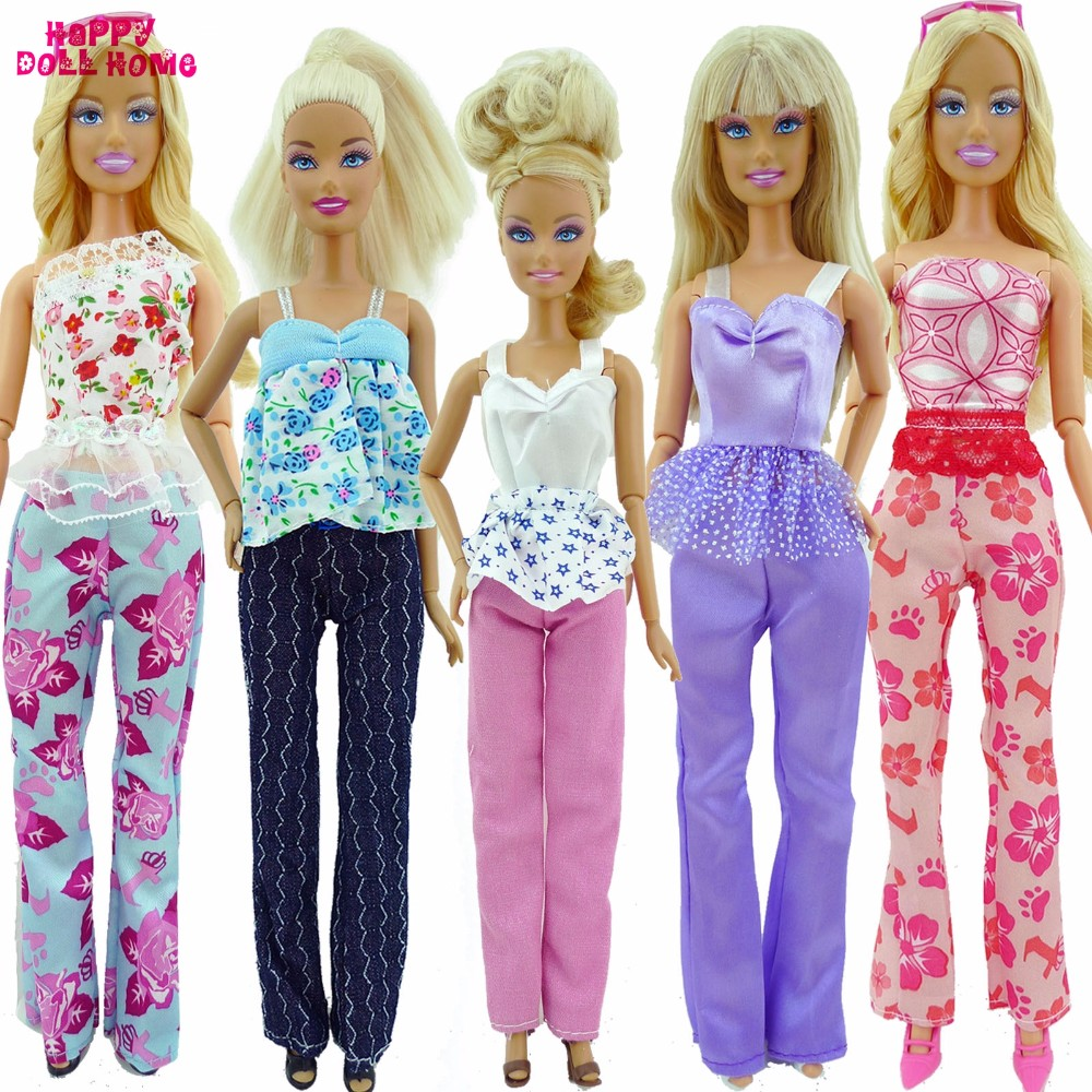 5x Random Handmade Trend Woman Each day Put on Shirt & Trousers Outfit Informal Garments For Barbie Doll Presents Child Toys