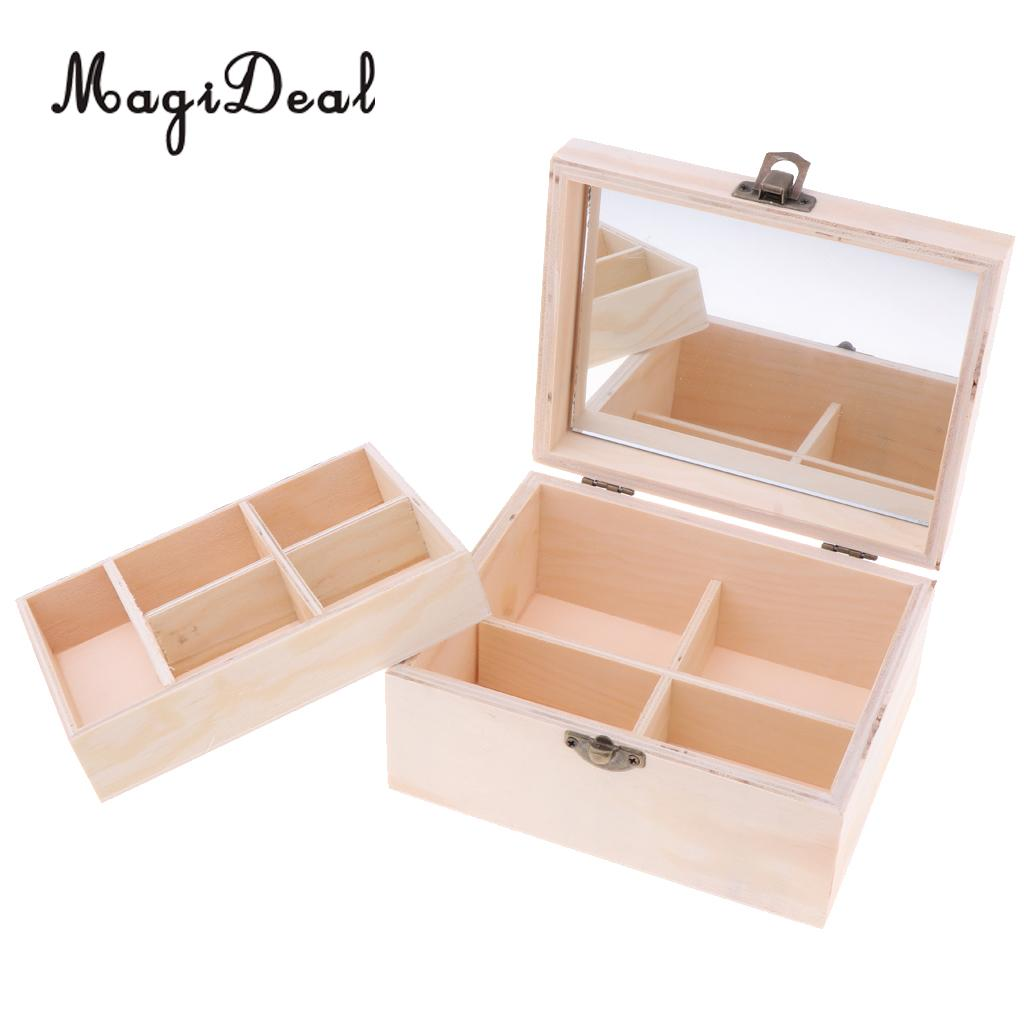 2 Tiers Plain Natural Wood Jewelry Box Wedding Gift Makeup Cosmetic Earrings Ring Desk Rangement Make Up Wooden Organizer Case