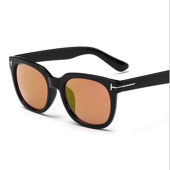 New women fashion brand sunglasses men designer shades Metal T blue pink silver mirrored sun glasses UV400 driver wayfarer black(China (Mainland))