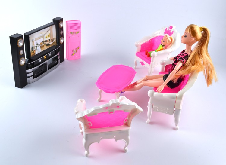 New Arrival Doll Equipment Home Furnishings Toys for women Mini Hello-Fi 1:6 TV Residence Theater Cupboard Set Combo For Barbie Doll