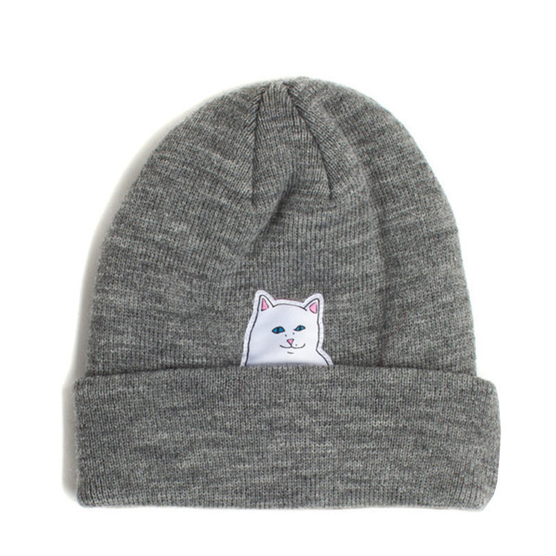 % new Winter Hat Wool Knitted Cartoon Cat Patch Skullies Beanies Middle Finger Fuck Designer Hat Female Gorros For Women Men(China (Mainland))