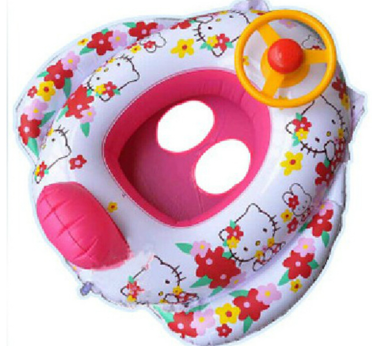 Hellokitty baby swimming ring, infant floating ring from 1--5years With steering wheel horn Children's swimming float(China (Mainland))