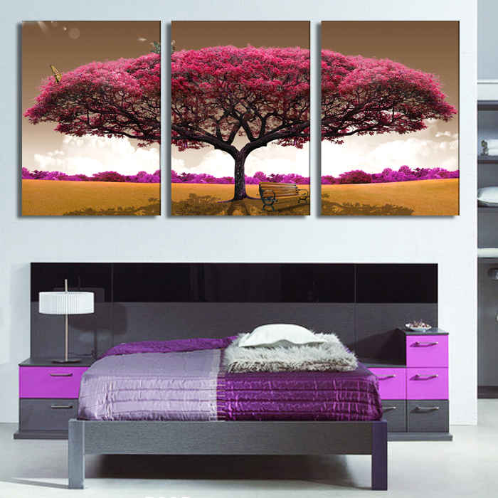 3 Piece Art Canvas Romantic Wall Art Tree Picture Canvas Painting Pink Tree Painting Large Wall Pictures For Living Room(China (Mainland))