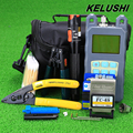 KELUSHI 19 in 1 Fiber Optic FTTH Tool Kit with FC SC Connector Red Laser Fiber