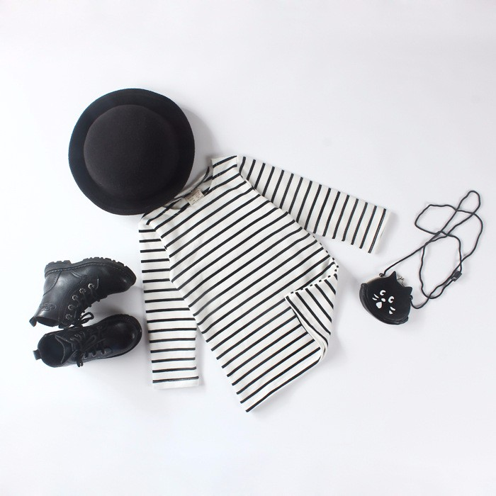 Autumn Winter Baby Girls Long Striped Dress Shirt Suit Mother Daughter Kids Striped Dress Wtih Velvet Black White Newborn 9M-3T (7)