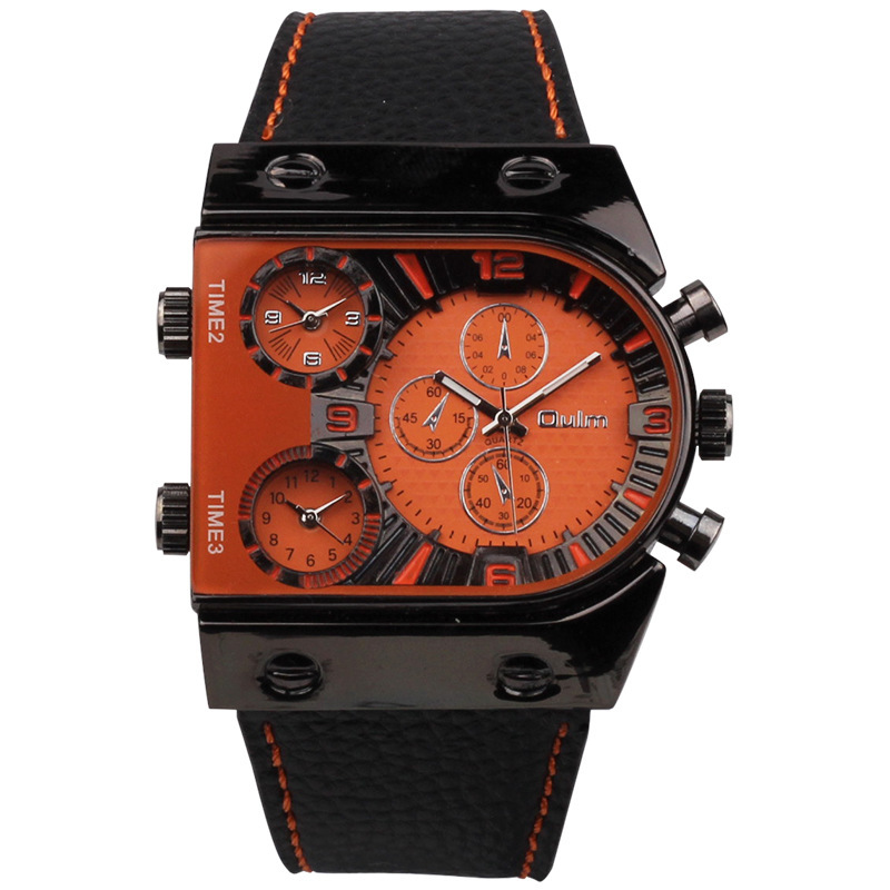 3 Time Zone 5 Color Dials Brand Oulm Men's Watches Europe and America Hot Sale Style Leather Band Military Quartz Watch Men(China (Mainland))