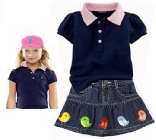 High Quality New Summer baby girls cotton polo t shirt + skirts 2pcs suit Children's casual clothing set kids polo skirt wear(China (Mainland))