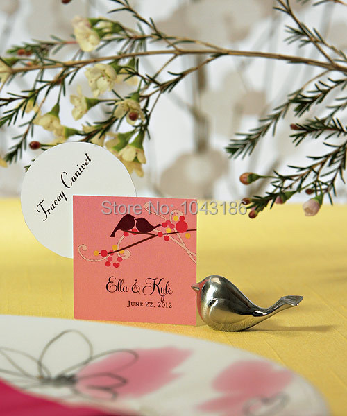 Free shipping Love Bird Card Holder Favors with Brushed Silver Finish party table name card holder