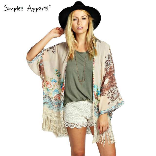 Print kimono flower Chiffon quimono blouses tassels hemline Vintage casual cardigan long sleeve 2015 new spring