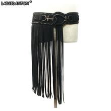 Buy LAISIDANTON Punk Long Tassel Ladies Belts Fashionable Rivet Wide Elastic Belt Black Round Buckle Women Belt Strap Girdle for $12.59 in AliExpress store