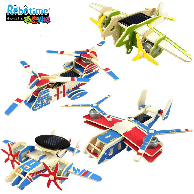 3 d wood puzzles DIY handmade solar power energy aircraft plane 3d wood puzzle assembling airplane model kids educational toys(China (Mainland))
