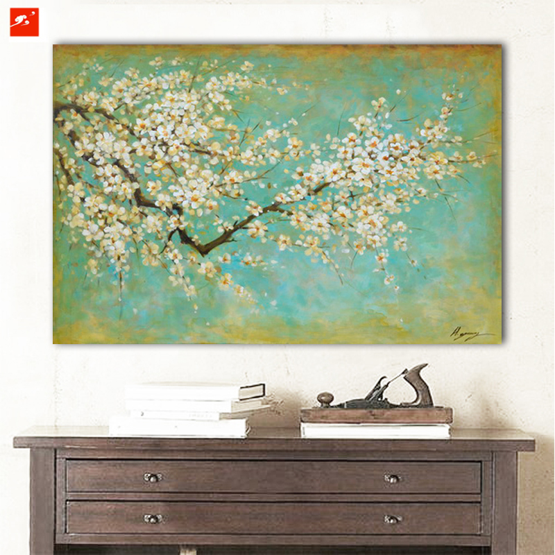 2016 Plum Flower Wall pintura Big Size Canvas Oil Painting For Home Decor Cherry Blossom Impressionistic Monet Style Print(China (Mainland))