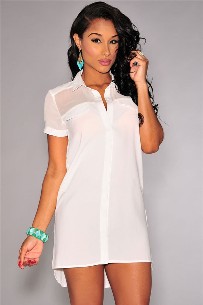 Turn Down Collar Women White Button Shirt Dress Mini Short