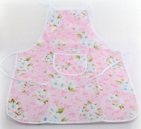 68*55cm Kitchen Barbecue Waterproof Oilproof Sleeveless Woman Aprons Lovely Pocket Pinafore(China (Mainland))