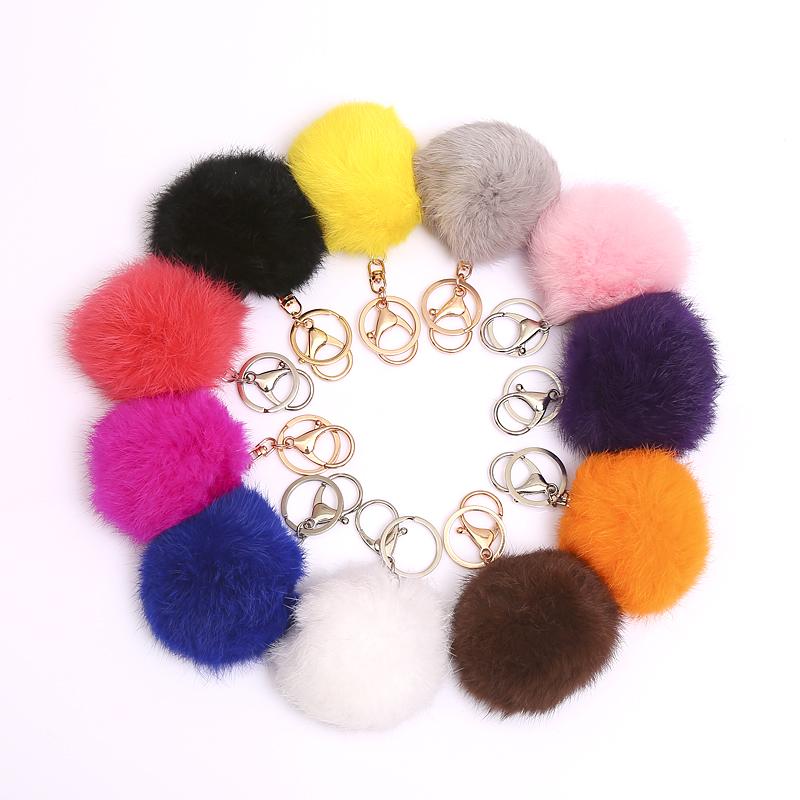 Cheap Handbag Charm Real Rabbit Fur Round Pom Keychain Blue Red Furry Ball Keychains Popular Fuzzy Ball Keyring Bag Car Jewelry(China (Mainland))