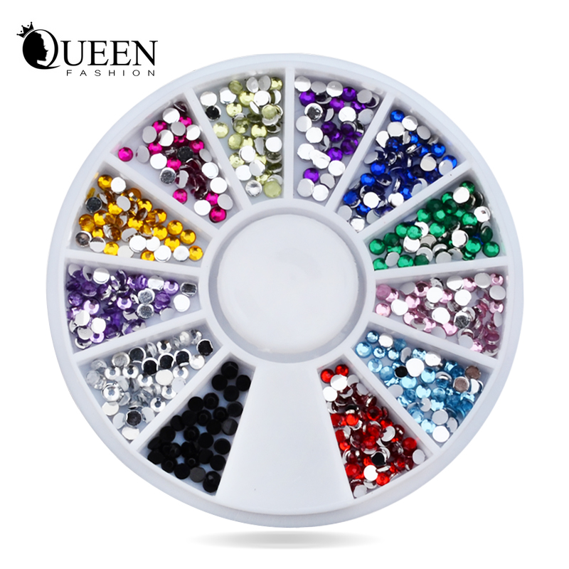 Nail Rhinestones Decorations,Mix 12colors 1.5mm Glitter Acrylic Flatback Tip Gems Wheel,3d Manicure Tools Art Supplies - Fashion Queen Accessory Co. , Ltd store