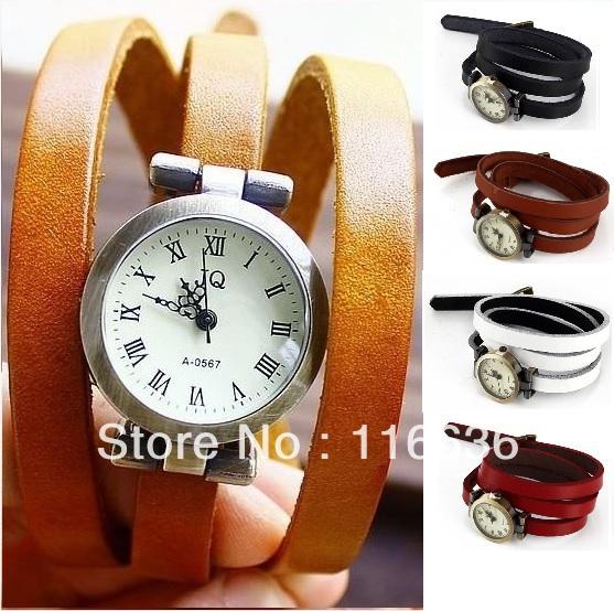 10pcs genuine Leather Large Wrap Bracelet Vintage Watch Retro Simple Band wristwatch Roman Movement  smooth  flat wholesale LOT<br><br>Aliexpress
