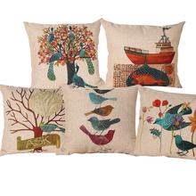 Linen Cotton Blending New Design Printed Seat Cushion Covers Sofa Pillow Case Bedding Pillows Decorative Throw Pillow 45cm*45cm(China (Mainland))
