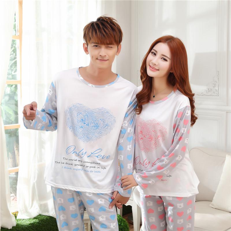 2015 новая весна с длинными рукавами мужчин и женщин пижамы пижамы оптовая продажа милый сердцу мультфильм печатные любители пижамы падают пижамы
