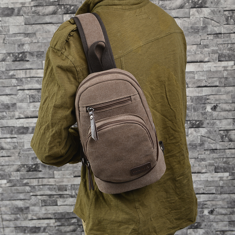 Canvas Chest Sling Bag Fashion Men Single Shoulder Bag Casual Patchwork Zipper Message Bag British style For Sport Running(China (Mainland))