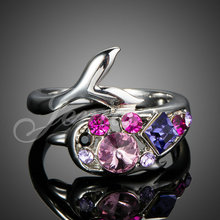 Brand Bijouterie White Gold Plated Colored SWA ELEMENTS Austrain Crystal Lovely Dolphin Ring for Women FREE SHIPPING (XR120)(China (Mainland))