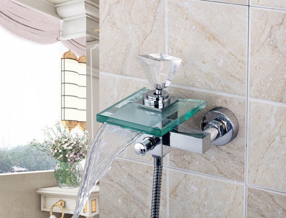 8008S/2 Crystal Diamond Handle Waterfall Glass Spout Wall Mounted Bathroom Bath Handheld Shower Tap Mixer Faucet(China (Mainland))