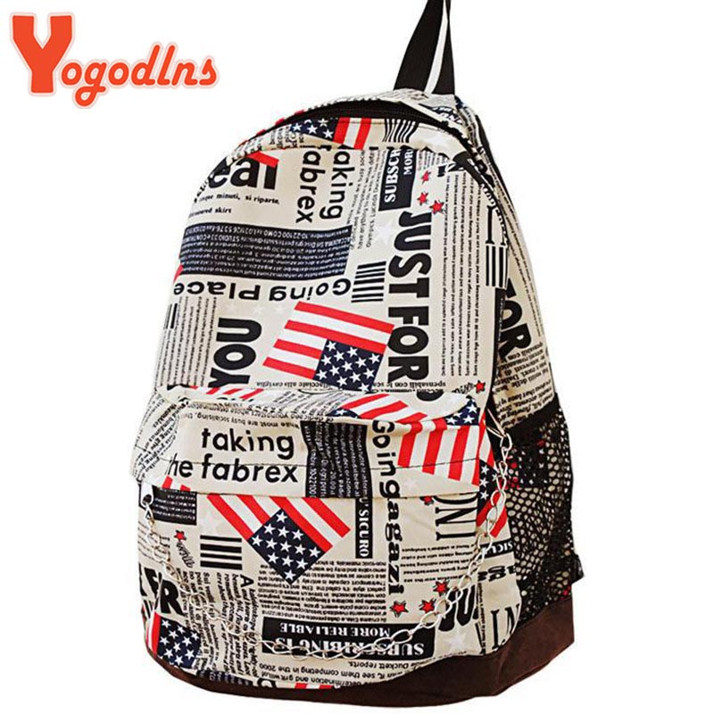 Unisex Canvas teenager School bag Book Campus Backpack bags UK US Flag Newspaper Pattern wholesale retail drop shipping(China (Mainland))