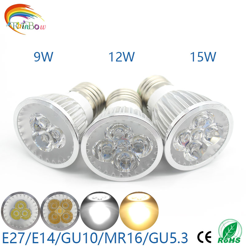 High Bright 9W 12W 15W GU10 MR16 E27 GU5.3 LED Bulbs Light 12V 110V 220V Dimmable Led Spotlights Warm/Cool White LED downlight(China (Mainland))