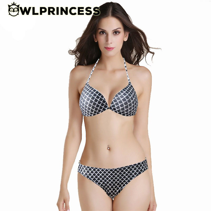 Owlprincess Sexy Scale Print Patchwork Strap Triangle Bikinis Metal Women Swimwear Bikini Black White Plaid Swimsuit Buquinis(China (Mainland))