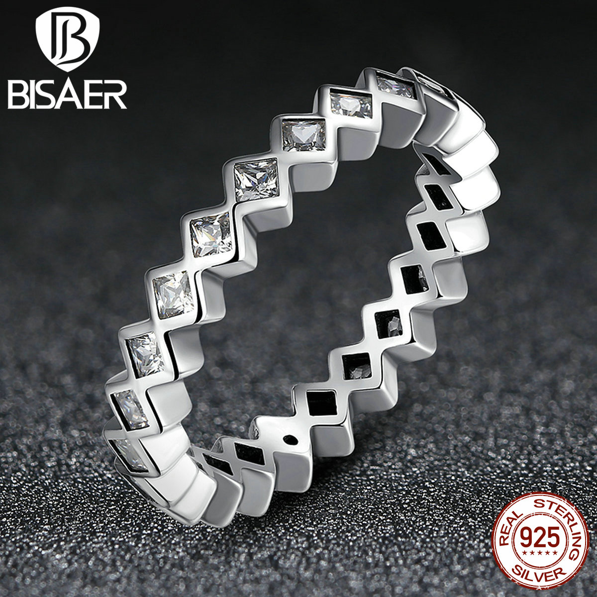 BISAER 2016 New Seductive princess Stacking Rings Wedding Band Party Clear CZ 925 Sterling Silver Rings For Women(China (Mainland))