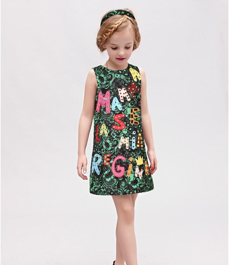 high end luxury 2015 autumn girls dress brand designer kids clothes