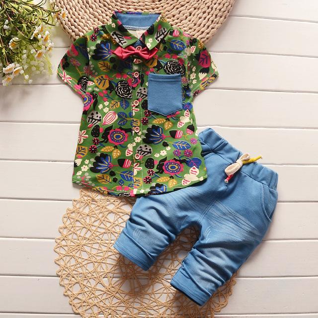 2016 детей мода лето детские мальчики девочки одежда наборы лук 2 шт. камуфляж спортивный ...