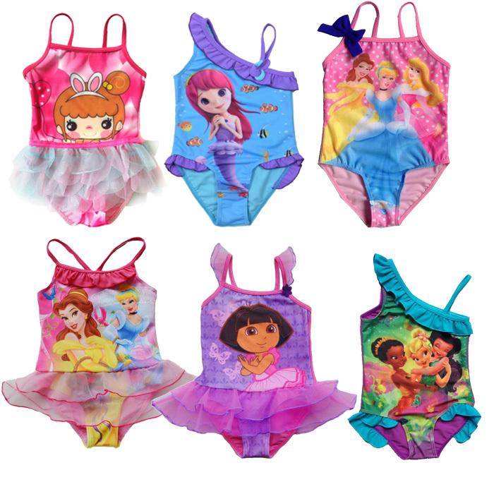 Retail Girl Baby Free Shipping Princess Swimsuit Swimwear Bathing 2-9 Years Bikini Tankini Sunsuit Beach wear Holiday(China (Mainland))