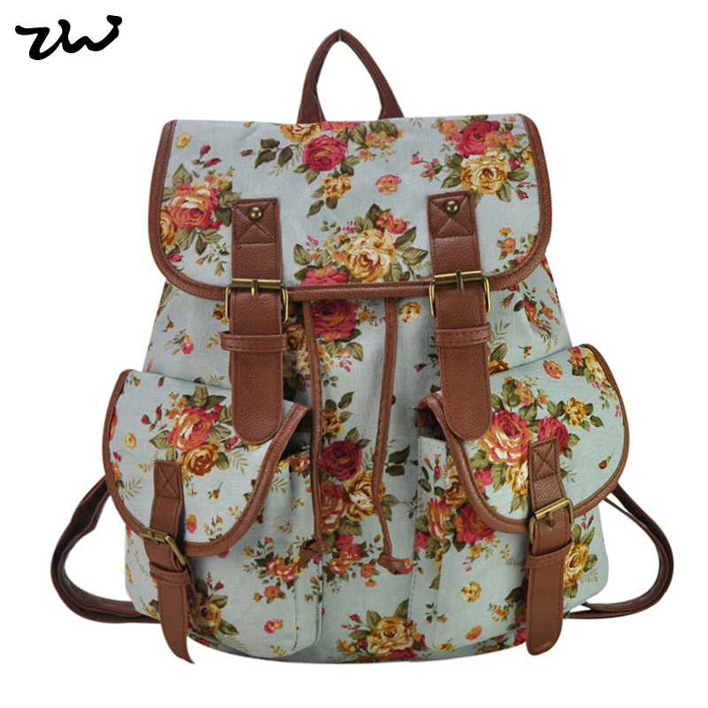 ZIWI Brand New Flower Women Printing Backpack Canvas School Bags Classic Rucksack Fashion Knapsack FF1932