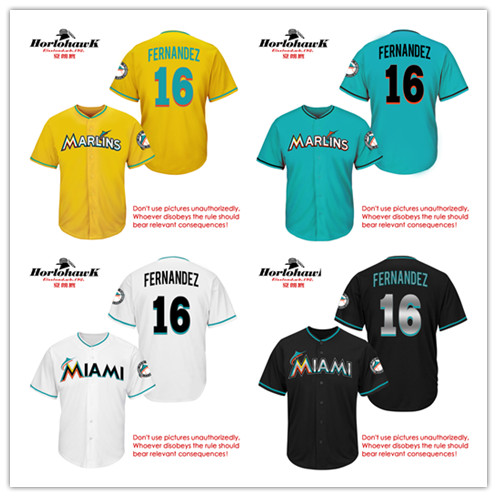 16 Jose Fernandez Embroidery jerseys whith blue yellow black white , Can be customized any name and number jerseys(China (Mainland))