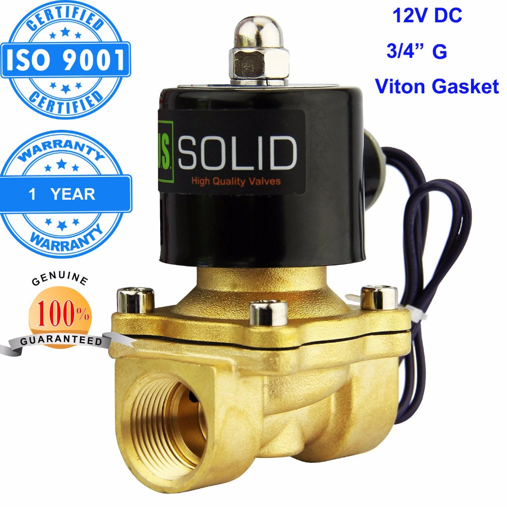 "U.S. Solid 3/4"" Brass Electric Solenoid Valve 12 V DC G Thread Normally Closed diesel kerosine alcohol Air Gas Oil Water(China (Mainland))"