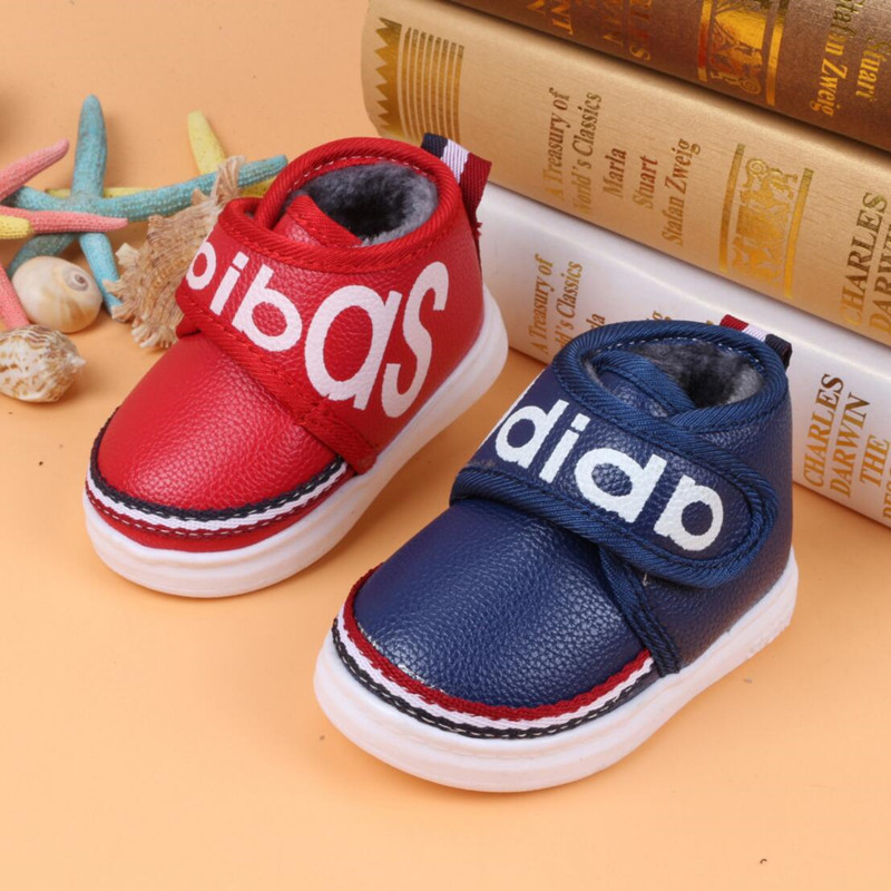 New Children's 2015 Winter Warm Snow Boots Infant Shoes Letters PU Leather hook Plush Cotton Baby's Toddler Sneaker boys girls(China (Mainland))