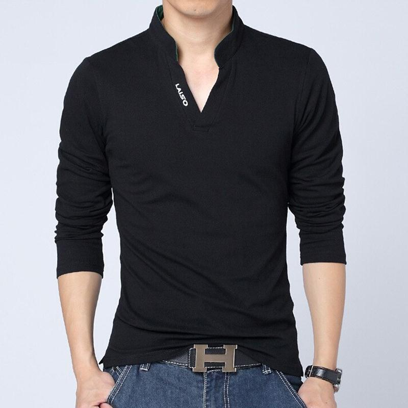New fashion brand men clothes solid long sleeve slim fit t for Full sleeves t shirts for men